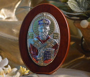 "St. Nicholas Italian Silver with Colors Icon (4"") (Greek Orthodox)"