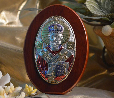 St. Nicholas Italian Silver with Colors Icon (4