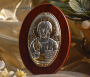 "Christ Icon Italian Silver on Wood Greek Orthadox (4"")"