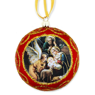 Red Religious Christmas Ornament Nativity Holy Family (4 3/4