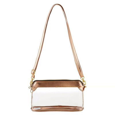 Clear and Metallic Rose Gold Stadium Bag