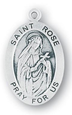 Saint Rose of Lima Oval Sterling Silver Medal