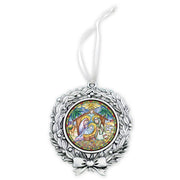Nativity Sublimated Wreath Ornament W/white Ribbon Gift - Unique Catholic Gifts