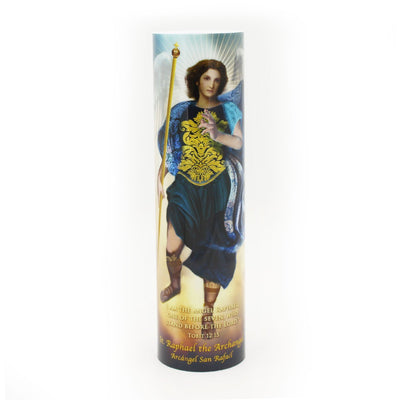 Archangel Raphael God Heals LED Candle Timer - Unique Catholic Gifts