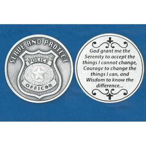 Police Officer (Serenity Prayer) Pocket Token Coin - Unique Catholic Gifts