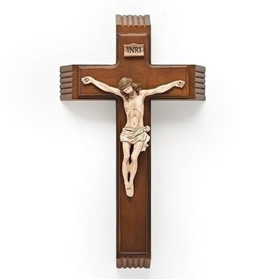 Sick Call Wood Crucifix with Candles and Bottle (14