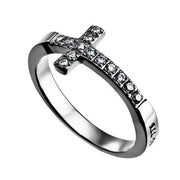 "Sideway Cross Ring, ""Christ My Strength"" - Unique Catholic Gifts"