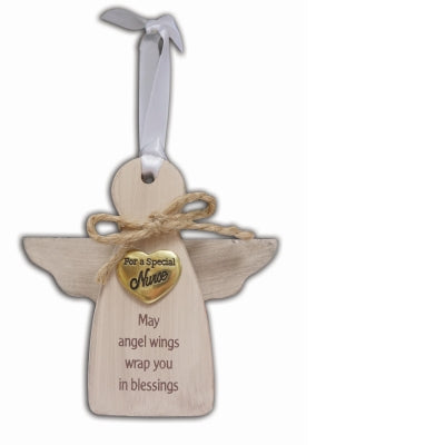 Special Nurse Wood Angel Ornament - Unique Catholic Gifts