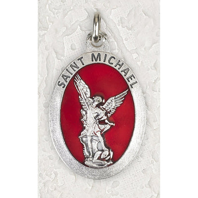 St. Michael the Archangel Double Sided Medal  Silver Toned With Red Enamel 1 1/2