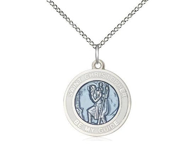 St. Christopher Round Blue Medal (3/4