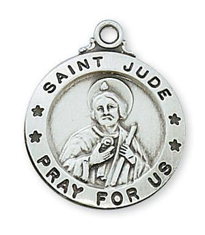 "Saint Jude Thaddeus Sterling Silver Medal (3/4"")(L600JU) - Unique Catholic Gifts"