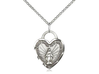 Sterling Silver Miraculous Heart Medal (3/4