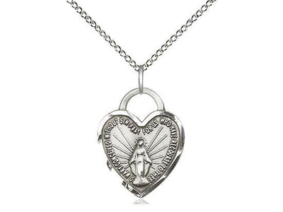 Sterling Silver Miraculous Heart Medal (5/8