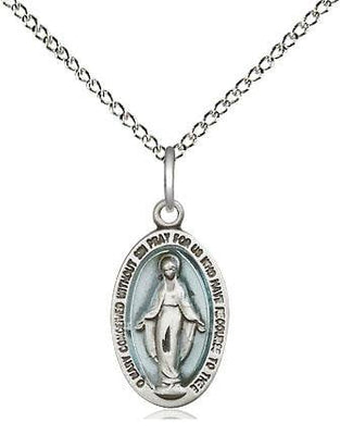 Sterling Silver Miraculous Medal Blue (5/8