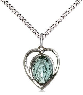Sterling Silver Miraculous Medal Blue in Heart (5/8