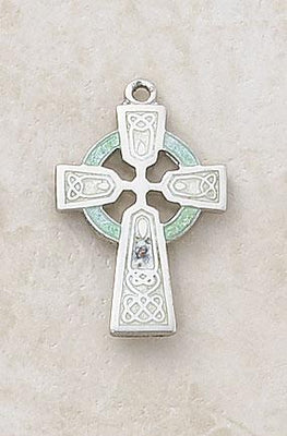 Sterling Silver/Green Celtic Cross