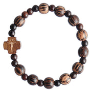 Striped Wood Children's Rosary Bracelet (8mm) - Unique Catholic Gifts