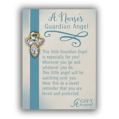 Gold Nurse Guardian Angel Pin W/crystal Gift - Unique Catholic Gifts