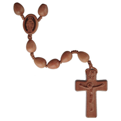 Teardrop Light Jujube Wood Rosary (12 mm) - Unique Catholic Gifts