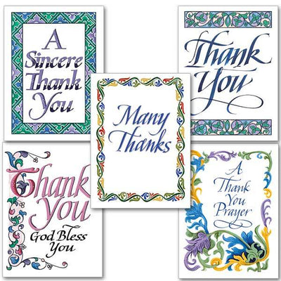 Thank You Calligraphy Collection Card (10 Cards with Envelopes) 5 patterns
