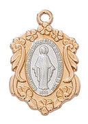 "Two Toned Rose Gold and Sterling Silver Miraculous Medal (7/8"") - Unique Catholic Gifts"