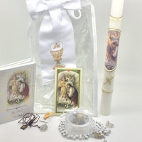 Girls First Communion Gift Set:Arm Band,Golden Candle and 7 other items - Unique Catholic Gifts