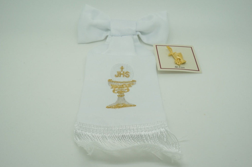 First Communion Set Arm Band Handmade Chalice and Pin