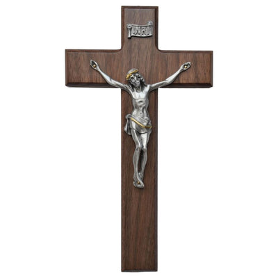 Walnut Wall Crucifix with 2-Tone Corpus 10