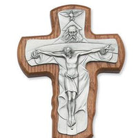 "Walnut and Pewter Holy Trinity Cross (5 1/2"")"