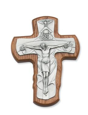 Walnut and Pewter Holy Trinity Cross (5 1/2