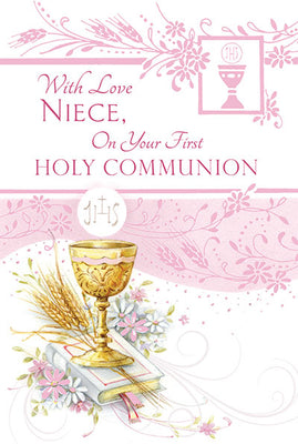 With Love Niece on your First Holy Communion Greeting Card - Unique Catholic Gifts