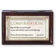 "Brown Wood Musical Confirmation Keepsake Box  6 x 4"" Amazing Grace - Unique Catholic Gifts"