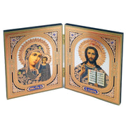 "Wooden Diptych Virgin Of Kazan Madonna and Child and Christ The Teacher (4 3/4"")"