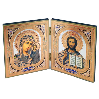 Wooden Diptych Virgin Of Kazan Madonna and Child and Christ The Teacher (4 3/4