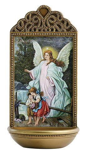 "Guardian Angel Holy Water Font 6"" - Unique Catholic Gifts"