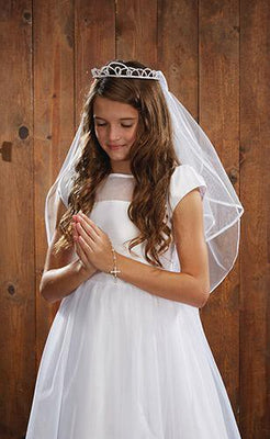 Pearl Tiara First Communion Veil - Unique Catholic Gifts