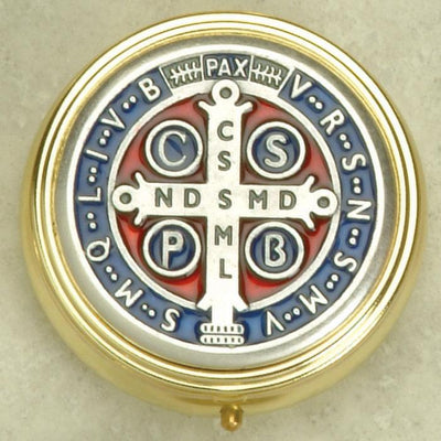Silver toned St Benedict Enameled Pyx Small (2