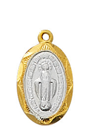 Gold and Sterling Silver  Two -Toned Miraculous Medal (1/2