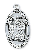 "Sterling Silver St Matthew (1 1/8"") on 24"" chain (L550mw)"