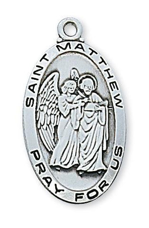 "Sterling Silver St Matthew (1 1/8"") on 24"" chain - Unique Catholic Gifts"