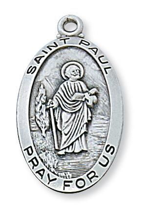 "Sterling Silver St Paul Medal (1 1/8"") on 24"" chain Patron Saint of Authors - Unique Catholic Gifts"