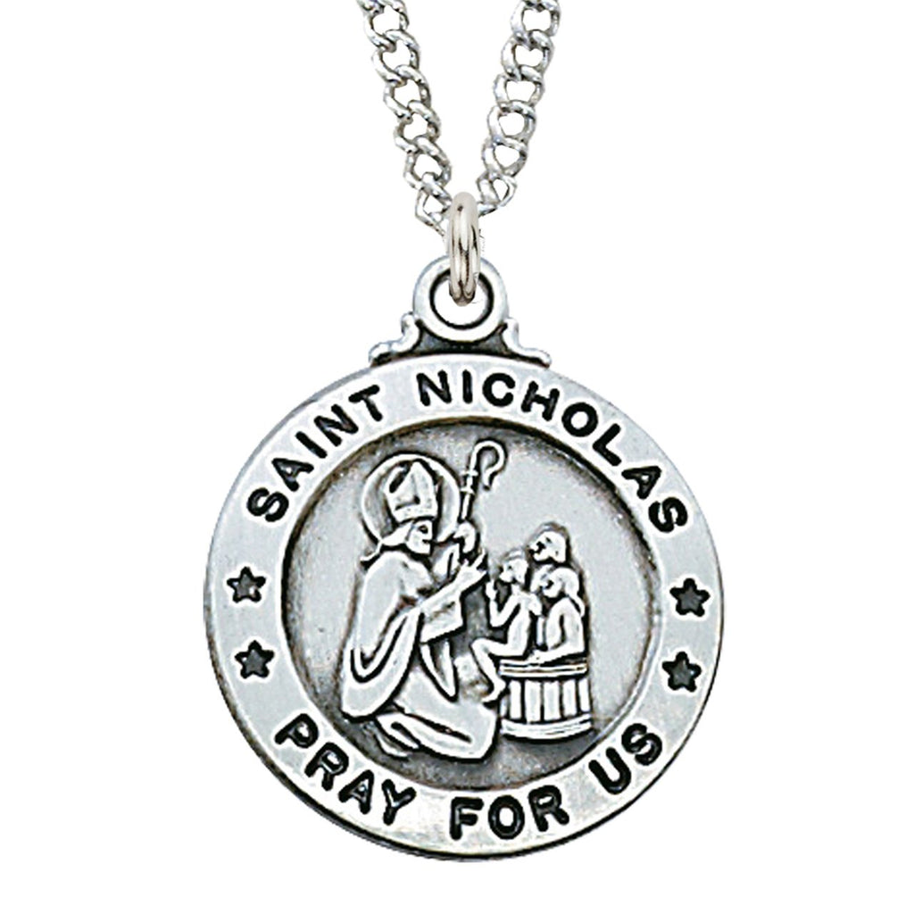 "Sterling Silver St Nicholas Medal (3/4"") on 20"" Chain - Unique Catholic Gifts"
