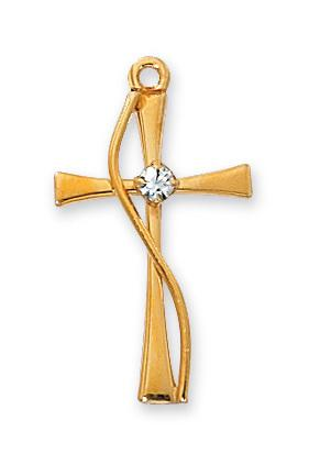 "Gold over Sterling Silver Cross with Stone (1"") on 18"" Gold plated chain - Unique Catholic Gifts"