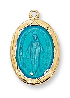 Gold over Sterling Silver Blue Miraculous Medal (3/4