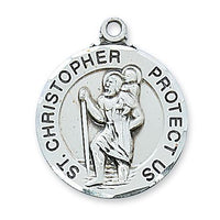 "Sterling Silver Round St Christopher Medal. (1"") on 24"" Chain - Unique Catholic Gifts"