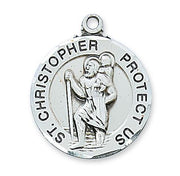 "Sterling Silver Round St Christopher Medal. (1"") on 24"" Chain (L608)"