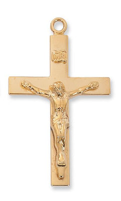 Gold over Sterling Silver Lord's Prayer Crucifix (1 11/16