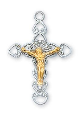 "Sterling Silver Crucifix Tutone Corpus (7/8"") on 18"" chain - Unique Catholic Gifts"