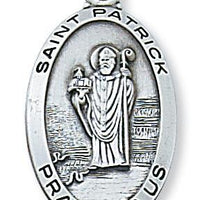 "Sterling Silver St Patrick Medal (1 1/8"") on 24"" chain L550PT - Unique Catholic Gifts"