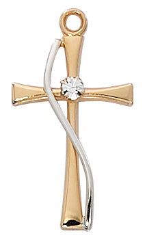 Rose Gold and Sterling Silver Cross with Crystal Stone (1